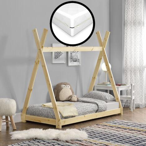 Cama para niños con colchón - Espuma fría - 80 x 160 cm - Adecuado para personas alérgicas - Textil de confianza - certificado OEKO-TEX 100 - Pino natural
