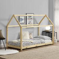 Cama para niños de madera pino - 206x98x142cm - Cama infantil - Forma de casa - Pino natural