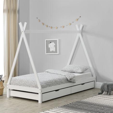 Cama para Niños de Madera Pino - 90 x 200 cm - con 2 Cajones para Almacenar - en Diseño de Carpa Indio - Cama infantil - Estructura tipi - Color Blanco