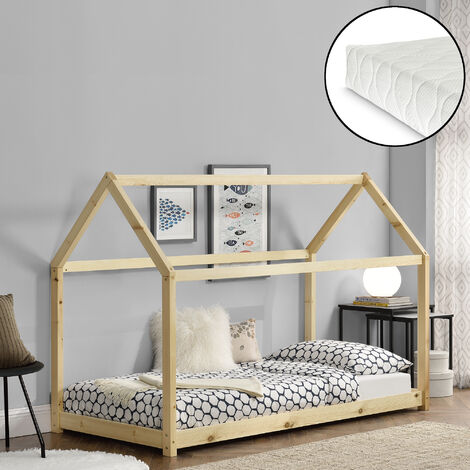 Cama para niños de madera pino con colchón - 200x90cm - Cama infantil - Forma de casa - Textil de confianza - certificado Öko-Tex 100 - Pino natural