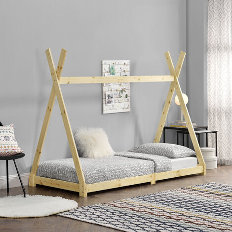 Cama para niños de Madera Pino Höri - 90 x 200cm - Cama infantil - Estructura Tipi con Somier - Madera natural
