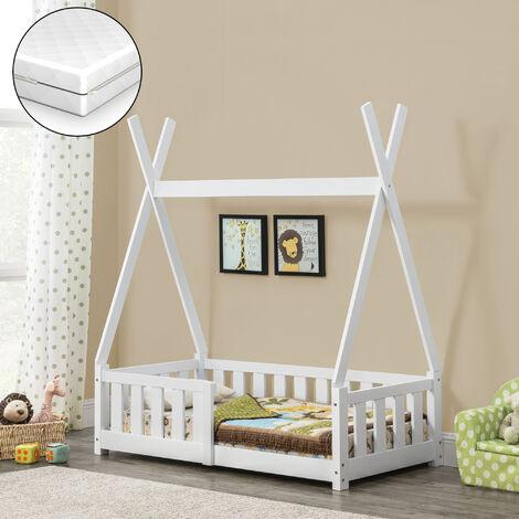 Cama para niños de pino - Con Colchón de espuma fría - con reja seguridad - 140x70cm - Cama infantil - Tipi - Carpa indio - Blanco mate - certificado OEKO-TEX 100 - Hecho en UE