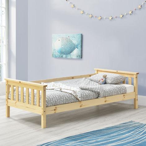 Cama para niños Nuuk - 70 x 140 cm - con Somier - con área de Almacenamiento - Protección contra caídas - Pino natural