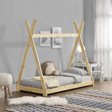 """main image of """"Cama para niños pequeños - Cama infantil - 160 x 80cm - Estructura tipi de madera pino - Color pino natural"""""""