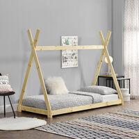 Cama para niños pequeños - Cama infantil - 200 x 90cm - Estructura tipi de madera pino - Color pino natural