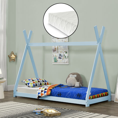 Cama para niños pequeños con colchón - Cama infantil - Estructura tipi de madera pino - 200x90cm - Textil de confianza - certificado Öko-Tex 100 - Azul