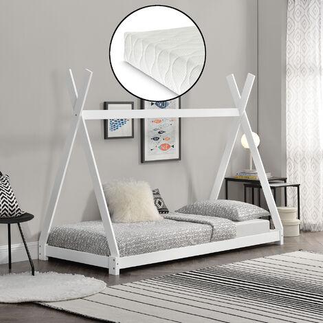 Cama para niños pequeños con colchón - Cama infantil - Estructura tipi de madera pino - 200x90cm - Textil de confianza - certificado Öko-Tex 100 - Blanco mate