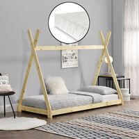 Cama para niños pequeños con colchón - Cama infantil - Estructura tipi de madera pino - 200x90cm - Textil de confianza - certificado Öko-Tex 100 - Color pino natural