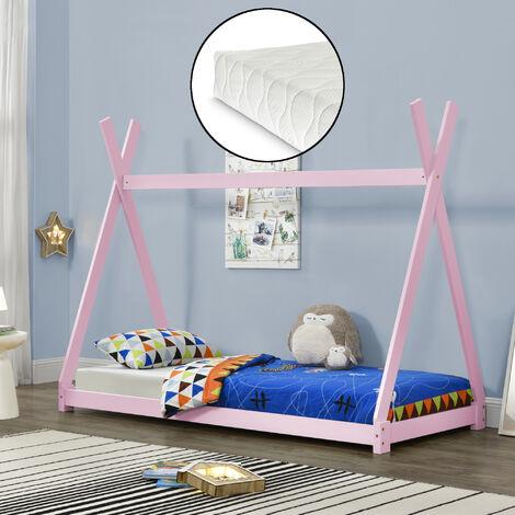 Cama para niños pequeños con colchón - Cama infantil - Estructura tipi de madera pino - 200x90cm - Textil de confianza - certificado Öko-Tex 100 - Color rosa