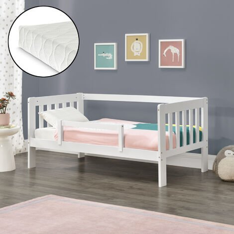 Cama para niños Selfoss de Pino - 90 x 200 cm - con Colchón y Somier - con Protección contra caídas - Reja seguridad - Textil de Confianza Certificado Oeko-Tex 100 - Blanco