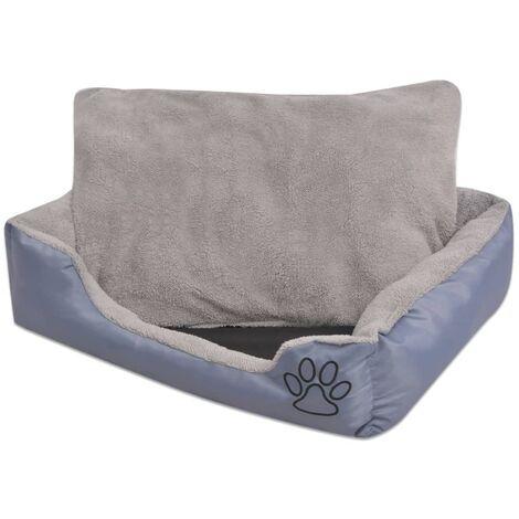 Cama para perro con cojín acolchado talla L gris