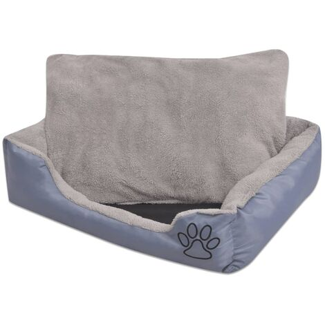 Cama para perro con cojín acolchado talla M gris