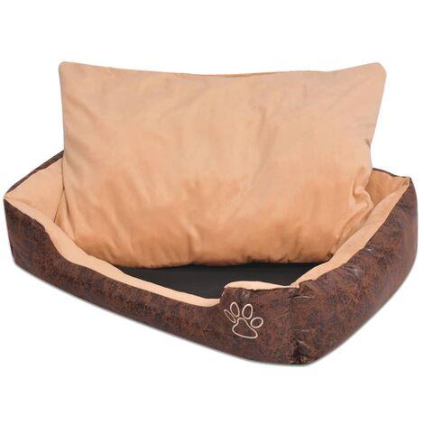 Cama para perro con cojín PU cuero artificial talla L marrón