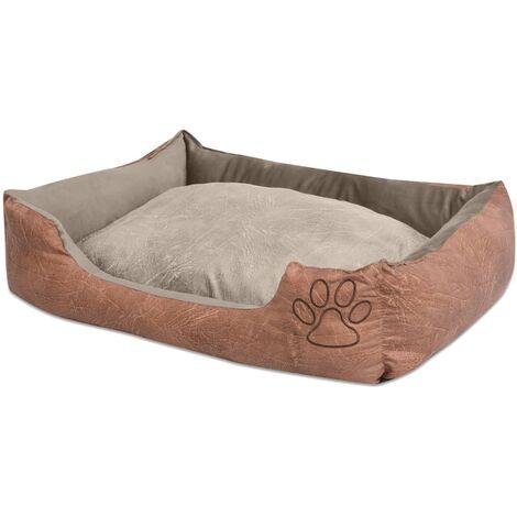 Cama para perro con cojín PU cuero artificial talla XL beige