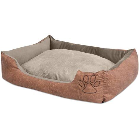 Cama para perro con cojín PU cuero artificial talla XXL beige