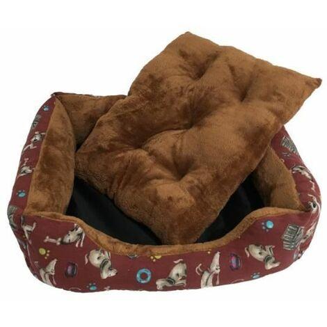 Cama para Perros con Estampación de Perros y Comederos para Mascotas Grandes. 100x80cm