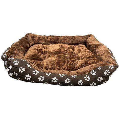 Cama para Perros Marrón Oscuro con Estampación de Huellas de Perro y Pelo Interior para mascotas pequeñas y grandes. 90x70cm