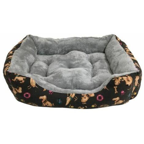 Cama para Perros Pelo Interior con Estampación de Perros y Comederos para Mascotas Medianas. 80x60cm