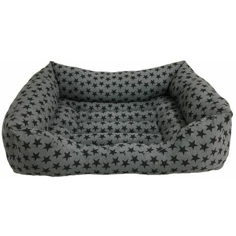 Cama para Perros Rectangular con Estampaciones de Estrellas Negras para Perros Medianos. 80x60cm