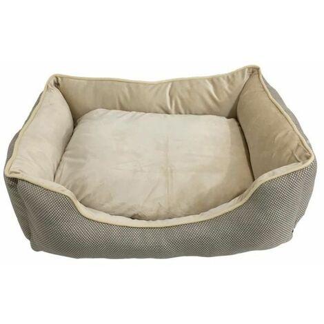 Cama para Perros. Sofá con Interior de Pelo Acolchado de Color Gris para Mascotas Grandes. 100x80cm