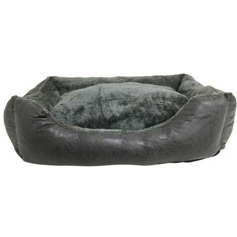 Cama para Perros. Sofá con Interior de Pelo Acolchado de Color Gris para Mascotas Medianas. 80x60cm