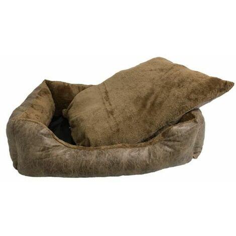 Cama para Perros. Sofá con Interior de Pelo Acolchado de Color Marrón para Mascotas Medianas. 80x60cm