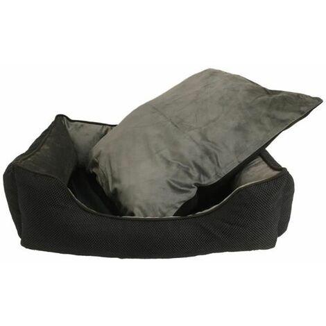 Cama para Perros. Sofá con Interior de Pelo Acolchado de Color Negro para Mascotas Medianas. 80x60cm
