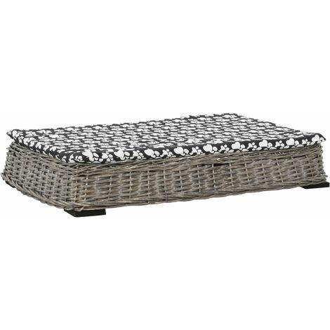 Cama para perros y cojín plana sauce natural gris 95x65x15 cm - Gris