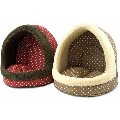 Cama para perros y gatos en forma de cueva estampado de lunares disponible en varios colores