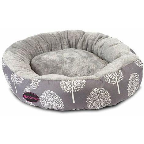 Cama para perros y gatos forma de donut estampados neutros y ligeros, extrema suavidad, Winter trees disponible en varias opciones