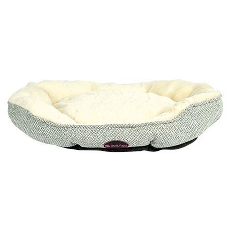 Cama para perros y gatos, tacto extra suave y cojin interior reversible de color beige y cuadros disponible en varias opciones