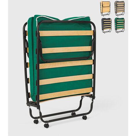 Cama plegable con ruedas, colchón y somier 80x180 Ares