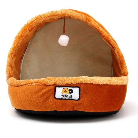 Cama plegable para animales Casa de calentamiento para mascotas Material suave duradero Nido Perro con bola de piel Almohadilla de piel Marrón LAVENTE