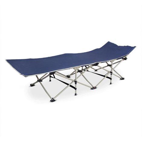 Cama Plegable para Playa, Tumbona Ajustable, 190 x 67 x 35 cm, Azul marino, Material: Poliéster 600D, Tubos de acero