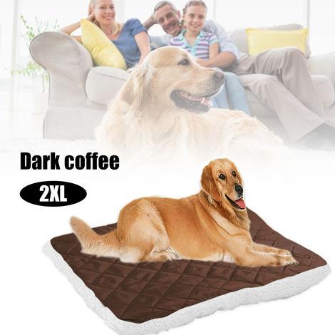 Cama suave para mascotas con felpa, cojin para cachorros,Cafe profundo, XXL