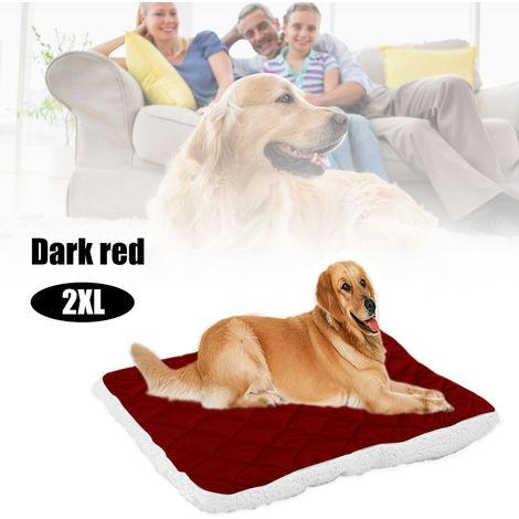 Cama suave para mascotas con felpa, cojin para cachorros,Color rojo oscuro,XXL