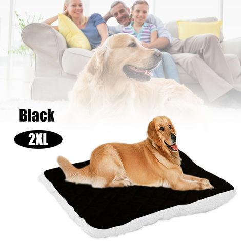 Cama suave para mascotas con felpa, cojin para cachorros,Negro, XXL