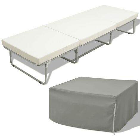 Cama/taburete plegable con colchón acero blanco 70x200 cm