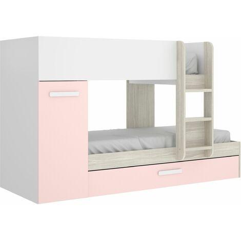 Cama tren con 3 camas Tom Gris – Rosa