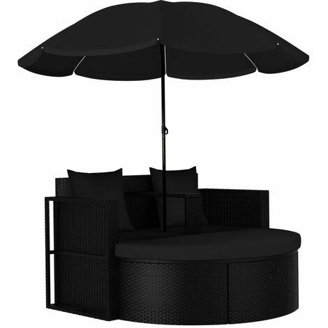 Cama tumbona de jardín con sombrilla ratán sintético negro