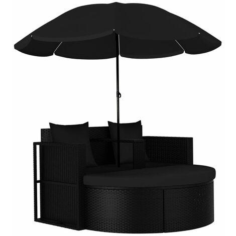 Cama tumbona de jardin con sombrilla ratan sintetico negro