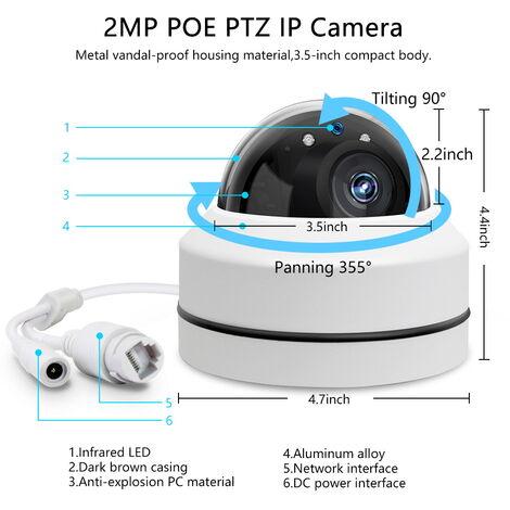 """main image of """"Camara de 2.5 """"Mini HD 1080P 2.0MP Exterieure Ptz fijo Ajuste automatico, Poe domo IP de camaras de seguridad exteriores PTZ con zoom optico 3x, vision nocturna por infrarrojos"""""""