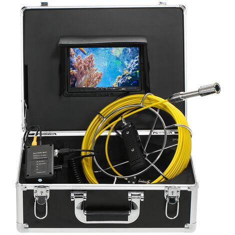 """Camara de inspeccion de alcantarillado de tuberia de drenaje, IP68 a prueba de agua, endoscopio industrial, monitor LCD de 7 """", vision nocturna de 12 LED"""