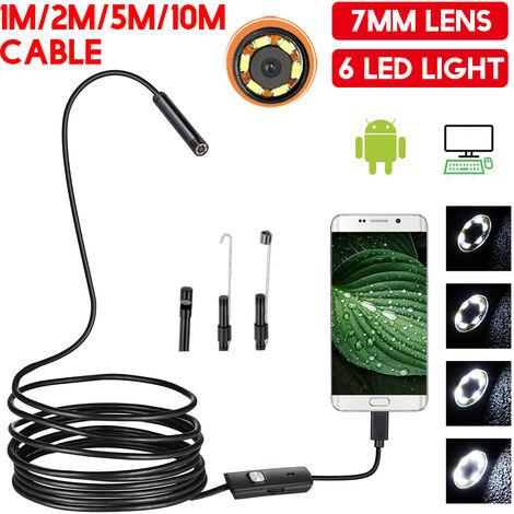 Cámara de inspección de endoscopio impermeable de 6 LED 10M 7 mm para teléfono Android
