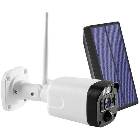 Camara de seguridad inalambrica con energia solar, camara WiFi HD de 1080p, audio bidireccional, vision nocturna, deteccion de movimiento, camara de vigilancia impermeable para exteriores con bateria de 2 piezas