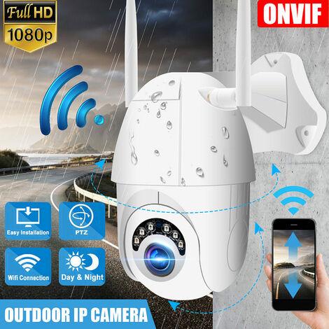 Cámara de seguridad para exteriores 1080P Onvif HD Cámara infrarroja resistente al vandalismo Visión nocturna Pan / Tilt / Zoom Ángulo de visión Impermeable Control remoto Enchufe de la UE (Enchufe de la UE de 1080p)