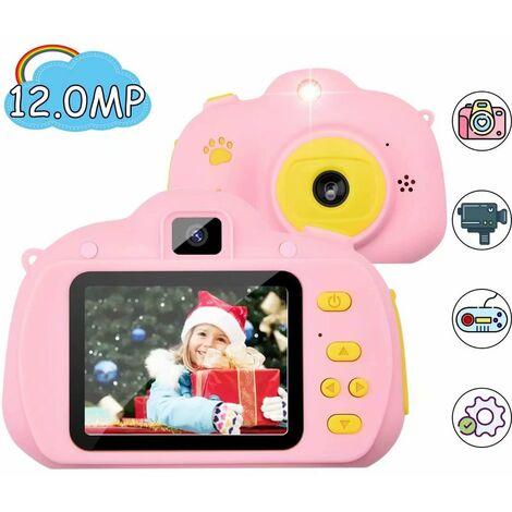 Cámara para niños, cámara digital de 2.4 pulgadas, cámara para niños de 12 megapíxeles / 1080P, lente frontal y trasera, línea USB