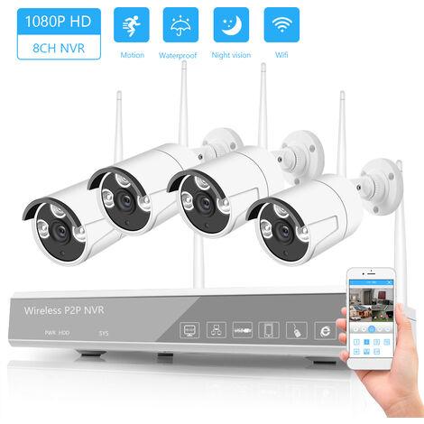 Camara Sistema de Vigilancia XF-1604M 8 canales NVR + 4 camaras inalambricas NVR kit de seguridad de 2MP HD 1080P WIFI Inicio Seguridad Monitor de vision nocturna de deteccion de movimiento P2P Activacion de alarma, de plata, enchufe de la UE