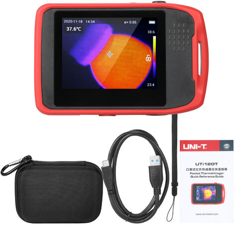 Camara termografica de bolsillo UNI-T Dispositivo de captura de imagenes con control tactil Pantalla tactil capacitiva LCD recargable de 3,5 pulgadas -20 ~ 400 ¡æ Medicion de temperatura, rojo y negro