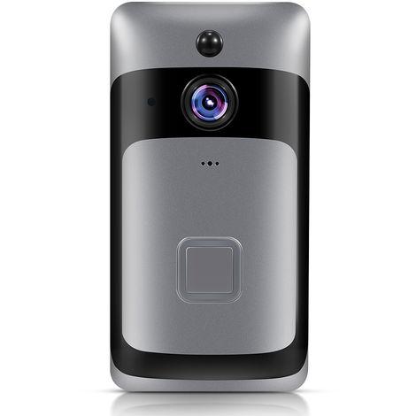 Camaras de seguridad del hogar inteligente WiFi timbre 1080P HD, con audio de dos vias de movimiento PIR, Negro